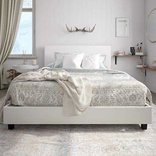 Bed Leather Upholstered - Carley Upholstered Bed, White Faux Leather, Full