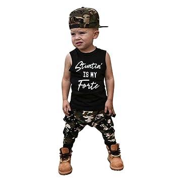 396cbd7c9901 HEHEM Baby Kids Clothes Boys Vest Tops+Camouflage Pants Baby Boy Letter Clothes  Set (