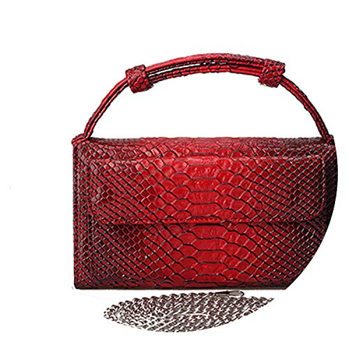 Luxury Genuine Python Leather Hand Bags Cross Body Shoulder Bag Snakeskin Designer Day Clutch Chain Crossbody Bag,Maroon