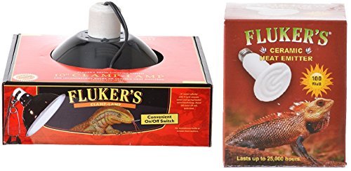 Fluker's Clamp Lamp with Switch, 10-inch + Ceramic Heat Emitter, 100 Watt ()