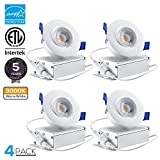 TORCHSTAR 3 inches Gimbal LED Recessed Light with Junction Box, 8W (55W Equiv.) Dimmable Downlight, ETL & Energy Star Listed, 3000K Warm White, 5 Years Warranty, Pack of 4