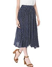 Allegra K falda media de cintura elástica para dama con lunares