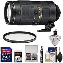 Nikon 80-400mm f/4.5-5.6G VR AF-S ED Nikkor-Zoom Lens with UV Filter + 64GB Card + Kit for D3200, D3300, D5300, D5500, D7100, D7200, D750, D810 Camera