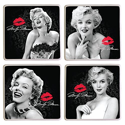 Vandor 70285 Marilyn Monroe 4 Piece Ceramic Coaster Set  Black White
