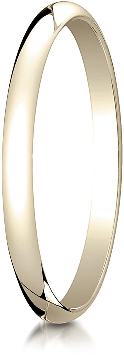 Sizes 4-15 Benchmark 10K Yellow Gold 2mm Slightly Domed Traditional Oval Wedding Band Ring