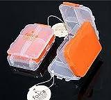 Folca Compact Pill Case, Orange - 8 Compartments