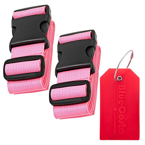 BlueCosto 2x Pink Luggage Straps Belts + 1x Red Suitcase Tags Labels