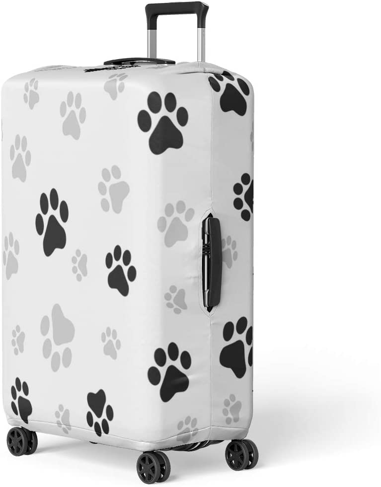 Pinbeam Luggage Cover Colorful Pawprint Dog Paw Pattern Cat Footprint Pet Travel Suitcase Cover Protector Baggage Case Fits 18-22 inches