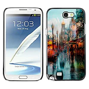 MOBMART Carcasa Funda Case Cover Armor Shell PARA Samsung Note 2 N7100 - Walking Woman With Umbrella Under The Rain