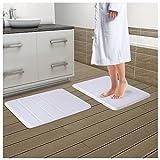 "Drhob 2Pcs White 17""x 24"" Non Slip Coral Velvet Bathmat Absorbent Bath Rugs Memory Foam Bath Mats with Anti-Skid Bottom"