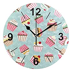 NOAON Wall Clock Round 10 Inch Diameter Silent Cupcake Colorful Decorative for Home Office School Bedroom