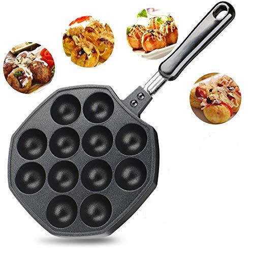 QIANLAI 12 Cavities Aluminum Alloy Takoyaki Pan Takoyaki Maker Octopus Small Balls Baking Pan Home Cooking Tools Kitchen Utensils by QIANLAI (Image #7)