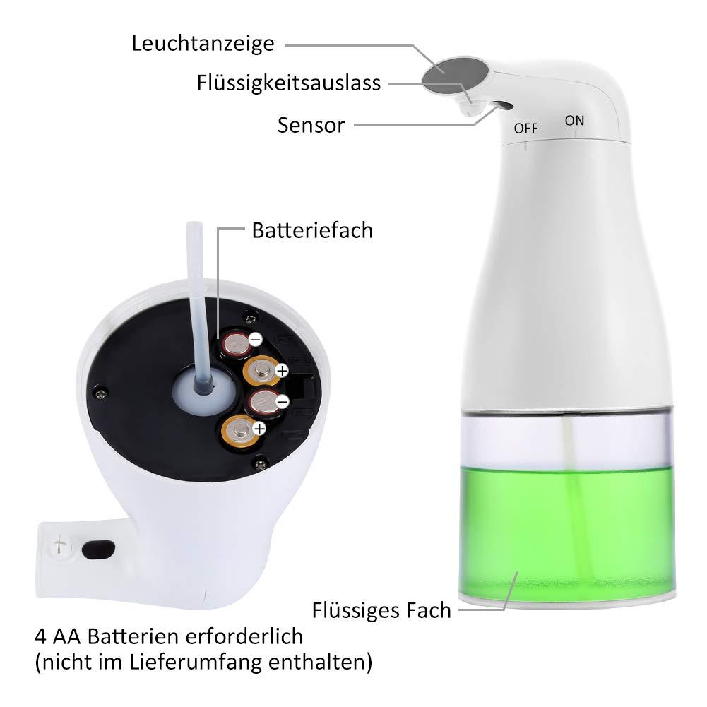 Fl/üssigseifenspender f/ür K/üche und Badezimmer Merisny Sch/äumender Automatischer Seifenspender 400ML Touchless Elektrischer Seifenspender mit Sensor
