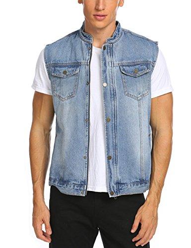 Jinidu Men's Casual Sleeveless Hidden Zipper Lapel Denim Vest Jacket, Light Blue, (Cotton Sleeveless Jeans)