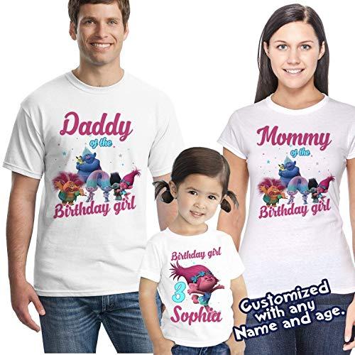 Trolls Personalized Birthday T-Shirt Featuring Princess Poppy, Poppy Birthday shirt