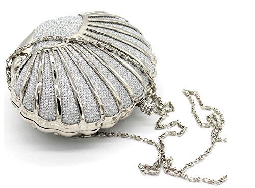 silver For Shiratori Seashell Girls Purses Women Clutch Handbags Mini For xpz7wqpZ