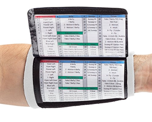 WristCoaches QB Wrist Coach - Playbook Wristband (Youth) - Heavy Duty Football Wristbands Boys Three Playsheet Compartments - Perfect Flag Football Tackle Football (White) - 3 Flag Football