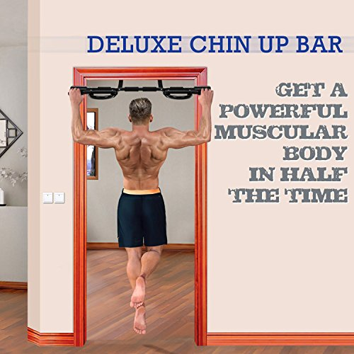 Yes4All Deluxe Chin Up Bar Doorway – Support to 300 lbs, 24 – 37 inch Fit Doorway