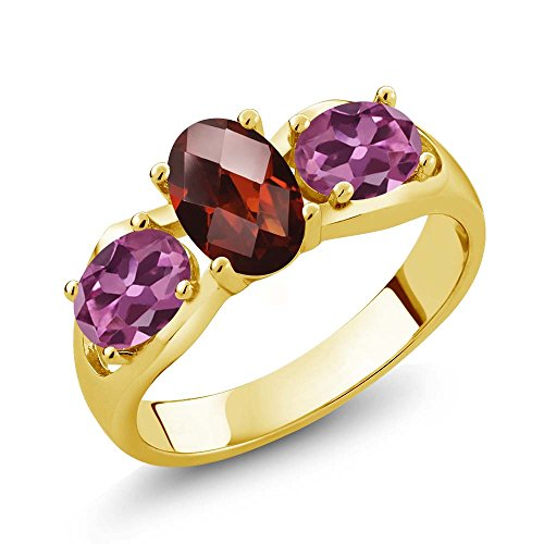 Gem Stone King 1.80 Ct Oval Checkerboard Red Garnet Pink Tourmaline 18K Yellow Gold Plated Silver Ring (Size 8)
