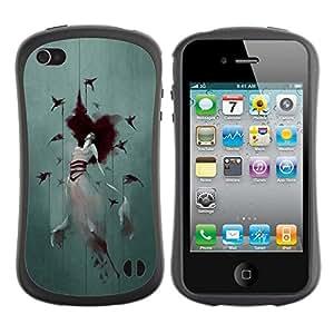 "Hypernova Slim Fit Dual Barniz Protector Caso Case Funda Para Apple iPhone 4 / iPhone 4S [Crow Mujer Acuarela Arte Profundo""]"