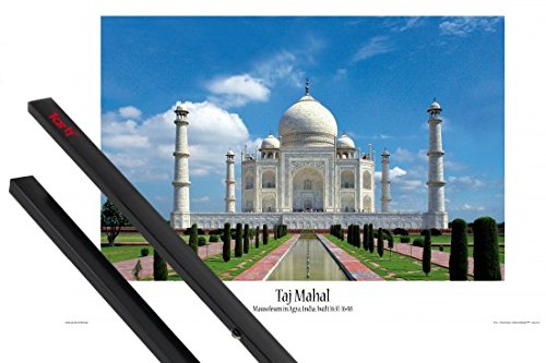 1art1 Taj Mahal Poster (36x24 inches) Wonder of The World, Agra, India and 1 Set of Black Poster Hangers