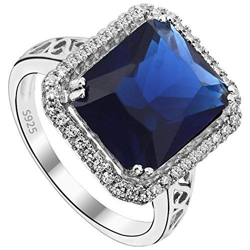 EVER FAITH 925 Sterling Silver Blue Sapphire Color 3 Carat Radiant Cut CZ Engagement Ring - Size 6