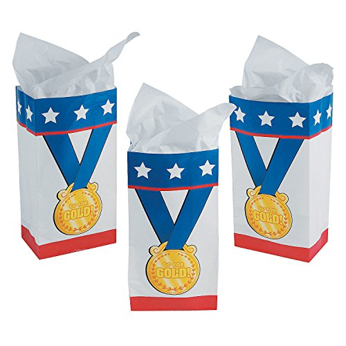 Fun Express Award Medal Goody Bags | 12 Count | Great for Kids Birthday Party, Game Prizes & Favors, Sports Events, Gift Bag