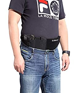 "LIRISY Belly Band Holster for Concealed Carry, Waistband Gun Holster fit Glock S&W M&P Shield Ruger LCP Revolvers, Fits Up 45'' to 54"" for Right Hand and Lefe Hand"