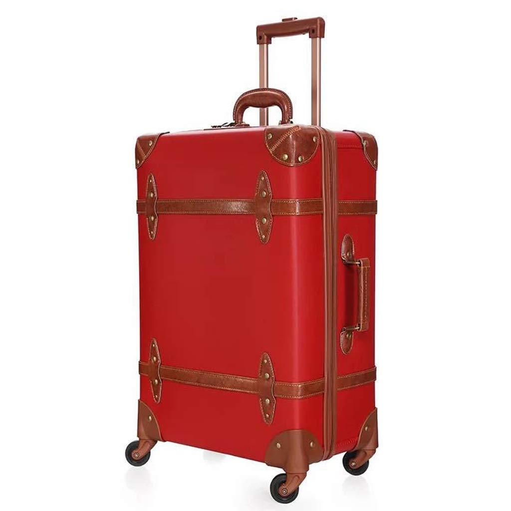 ZHAOSHUHLI 赤いスーツケースの結婚式の箱花嫁持参金箱ピラースーツケーススーツケースの女性の結婚式持参金箱 (Color : Wedding red, Size : 24'') B07R1LBK5R Wedding red 24''