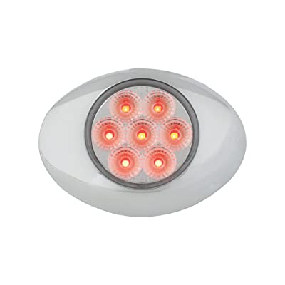 Grand General 76193 Red Small Low Profile Spyder 7-LED Marker/Clearance Sealed Light with Chrome Bezel and Clear Lens: Automotive