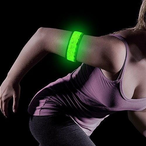 BSEEN LED Armband, 2ed Generation LED Slap Bracelets, Patented Heat Sealed Glow in The Dark Water/Sweat Resistant Glowing Sports Wristbands for Running, Cycling, Hiking, Jogging (Green-Design Ⅳ)