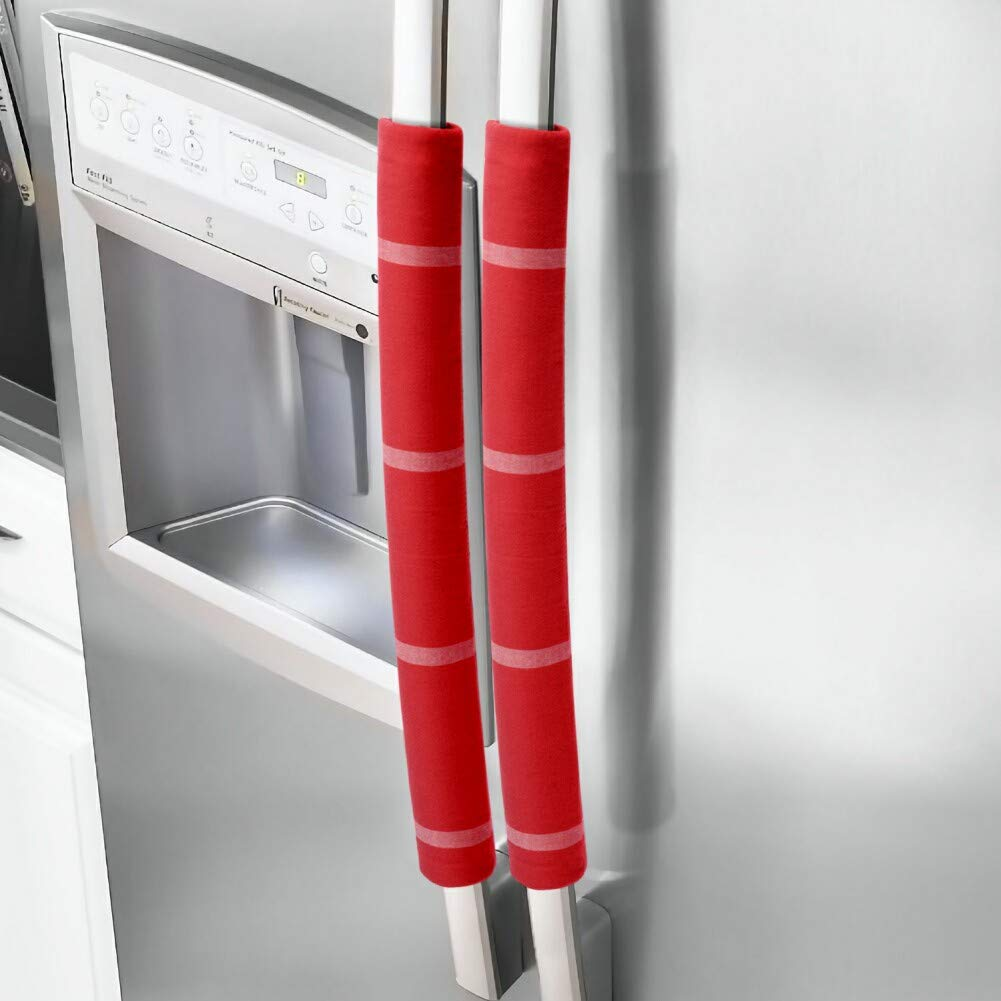"""JoJo Refrigerator Door Handle Covers Handmade Decor Protector for Ovens, Dishwashers.Keep Your Kitchen Appliance Clean from Smudges,Food Stains (red, 15.74"""")"""