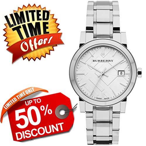 Burberry The City SWISS LUXURY Round Stainless Steel 34mm Silver Date Dial Unisex Men Women Watch BU9100