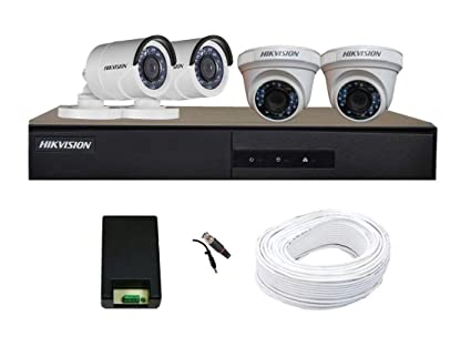 Hikvision Full HD (2MP) 4 CCTV Camera & 4Ch Full HD DVR Kit (All  Accessories)