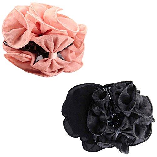 Polytree 2pcs Womens Chiffon Rose Flower Bow Hair Clip (Black Pink)