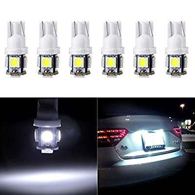 License Plate Light,cciyu T10 W5W Wedge 168 194 LED Bulb for Interior Dome Map lights Courtesy Light 6000K Xenon White,6Pack: Automotive