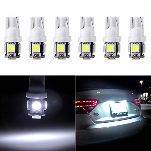 cciyu License Plate Light, T10 W5W Wedge 168 194 LED Bulb 6000K Xenon White,6Pack (Lights Honda 2006 Odyssey Back)