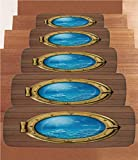 Non-Slip Carpets Stair Treads,Shark,Submarine Chamber Window with A View of Coral Reef Swimming Fishes Print,Light Caramel Blue Gold,(Set of 5) 8.6''x27.5''