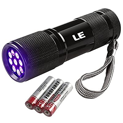 LE Ultra Violet LED Flashlight/Blacklight, UV LED Flashlight, 9 LED 395nm, Pet Urine & Stain Detector, 3 AAA Batteries Included, Find Stains on Clothes, Carpet or Rugs by Lighting EVER