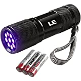 LE Ultra Violet LED Flashlight/Blacklight, UV LED Flashlight, 9 LED 395nm, Pet Urine & Stain Detector, 3 AAA Batteries Included, Find Stains on Clothes, Carpet or Rugs