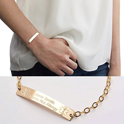 (Medical Alert Adjustable Bracelet-Custom Medical ID-Personalized Gold Bar Engraved-14K Gold Filled-Rose-Sterling Silver-CG290N_1.5X0.25)