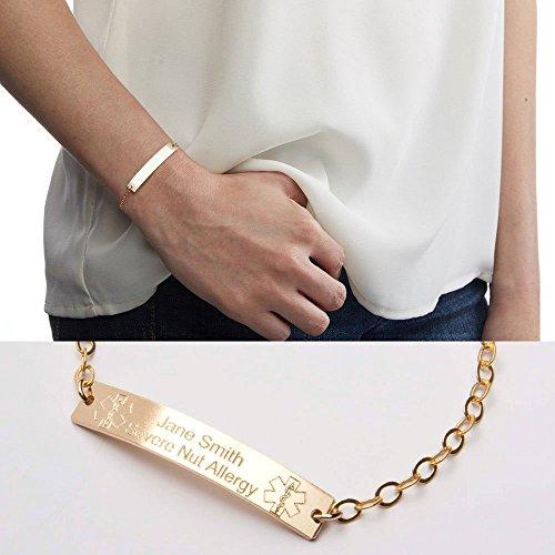 Medical Alert Adjustable Bracelet-Custom Medical ID-Personalized Gold Bar Engraved-14K Gold Filled-Rose-Sterling Silver-CG290N_1.5X0.25