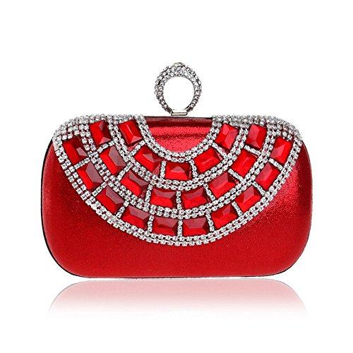 red Anneau KYS Pochette Boucle Chaîne Main À Diamants Femmes Strass d'embrayage Perlé De Épaule Sac Mariage Soirée Parti Sacs Classique F5Hqrw5xgA