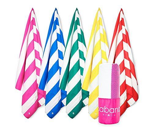 Cabana Beach Stripe Collection - The Worlds Greatest Beach, Pool & Travel Towel. Extra Large, Quick Dry, Sand Proof, Compact & Ultra Absorbent Microfiber Towel. Luxurious Feel & Vibrant Colors