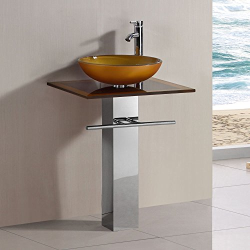 23-inch Wide Glass Vessel Bathroom Vanity Pedestal Combo Mustard (24' Wide Vanity)