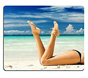 Mouse Pad Natural Rubber Mousepad Women s beautiful legs on the beach IMAGE ID 9056638