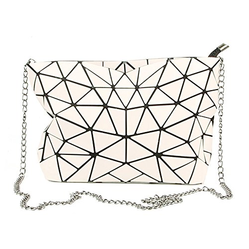 PU Holographic Women Clutch for Leather Chain Metal Handbag Laser White Purse Geometric Crossbody gO1rpnWgx