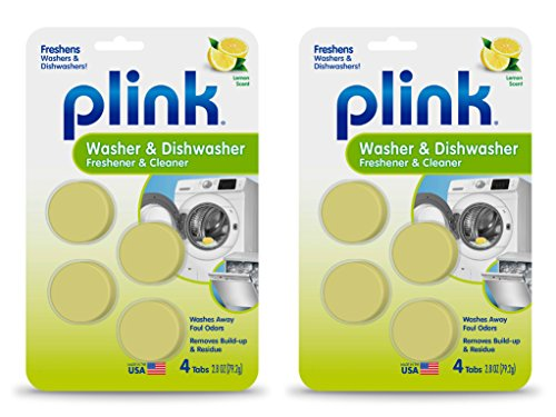 Plink Washer and Dishwasher Freshener Phosphate and Bleach Free, Deodorizer and Cleaner, 8, 8 Tablets by Plink