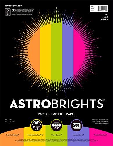 """Astrobrights Color Paper, 8.5"""" x 11"""", 24 lb/89 gsm,""""Joy"""" 5-Color Assortment, 500 Sheets (91414) (Renewed)"""