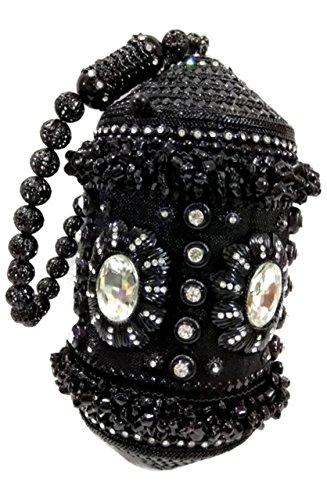 Bridal marriage clutch black metal Handbag purse Crystal Rhinestones stone party women handbag unusual unique bag